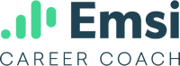 Emsi Career Coach Logo, Light Blue vertical lines that are rounded at the ends with text, Emsi Career Coach.
