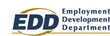 Employment Development Department (EDD) Logo, Blue text with yellow swish