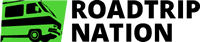 Roadtrip Nation Logo, Green RV with black text, Roadtrip Nation